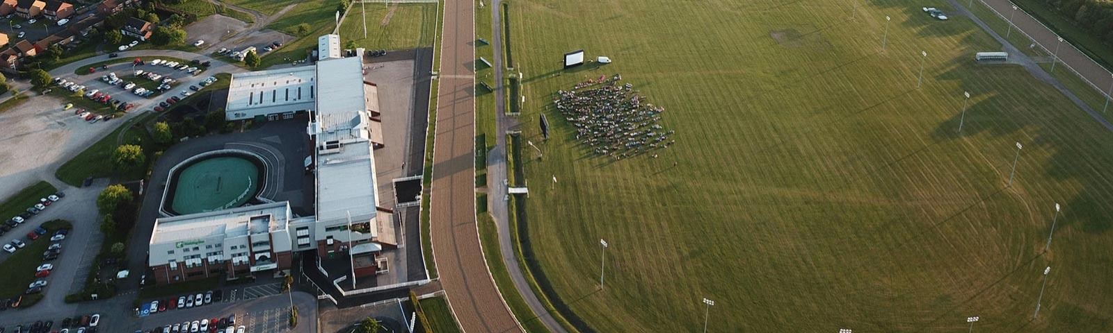 An aerial view of Wolverhampton Racecourse