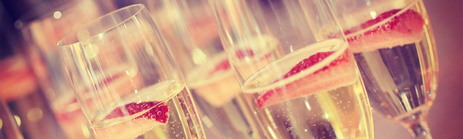 Close up of champagne glasses.